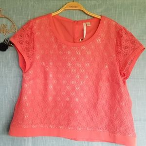 LC Lauren Conrad Lace Bow Back Cropped Tee